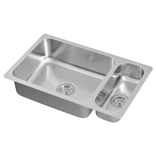 HILLESJÖN inset sink 1 1/2 bowl stainless steel 73.0 cm 44.0 cm 18.0 cm 50.0 cm 40.0 cm 28.0 l 12.0 cm 16.0 cm 40.0 cm 5.0 l 46.0 cm 75 cm 46 cm