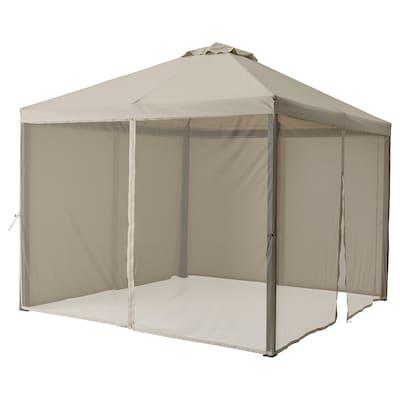HIMMELSÖ مظلة مع شبكة, رمادي غامق/رمادي-بيج