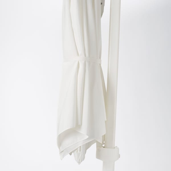 HÖGÖN مظلة، تعليق مع القاعدة, أبيض/Svartö رمادي غامق, 270 سم