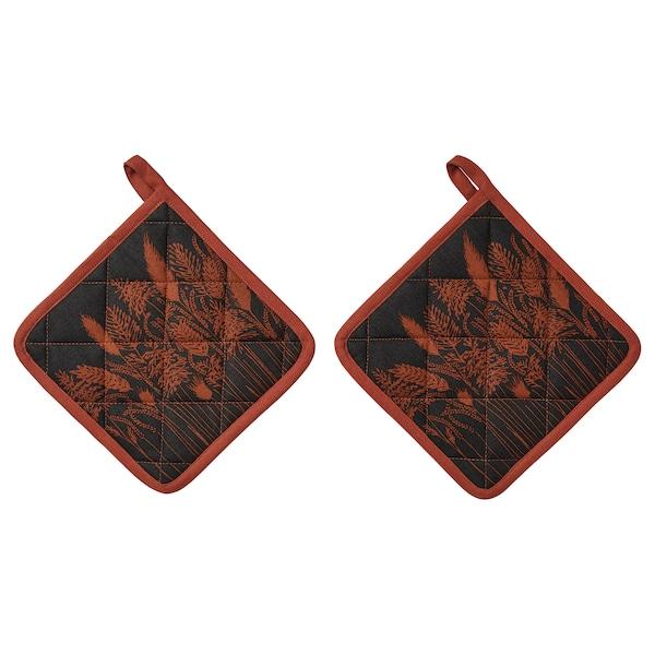 HÖSTKVÄLL Pot holder, black/red, 21x21 cm