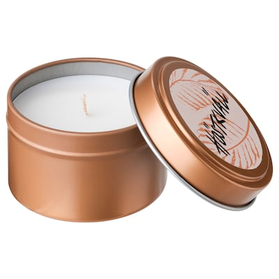 HÖSTKVÄLL Scented candle in metal tin, Cinnamon & sugar/copper-colour, 5 cm