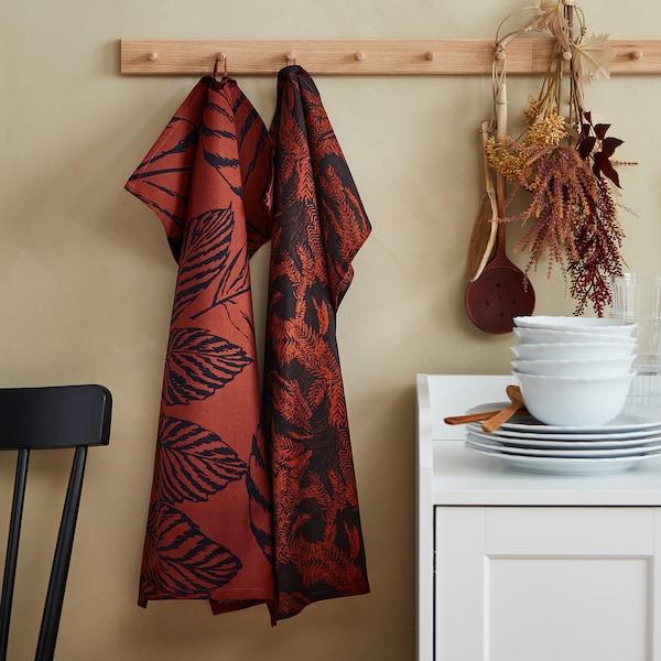 HÖSTKVÄLL منديل سفرة, أسود/ أحمر, 50x70 سم