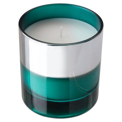 HOPFOGA Scented candle in glass, Summery/turquoise, 9.5 cm