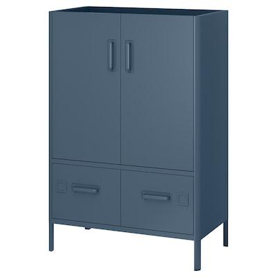 IDÅSEN خزانة بأبواب وأدراج, أزرق, 80x47x119 سم