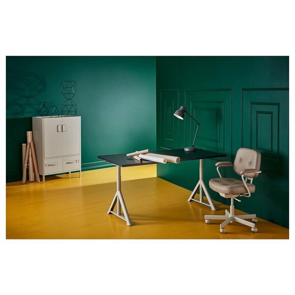 IDÅSEN مكتب, أسود/بيج, 160x80 سم