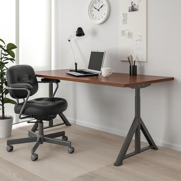 IDÅSEN Desk, brown/dark grey, 160x80 cm