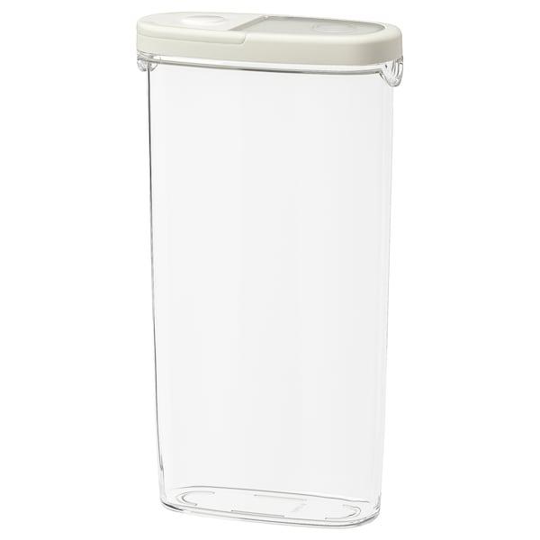 IKEA 365+ مرطبان بغطاء للأطعمة الجافة, شفاف/أبيض, 2.3 ل