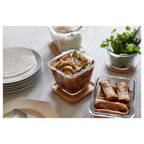 IKEA 365+ Food container with lid, square glass/bamboo, 1.2 l