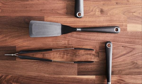 IKEA 365+ HJÄLTE Cooking tweezers, stainless steel/black