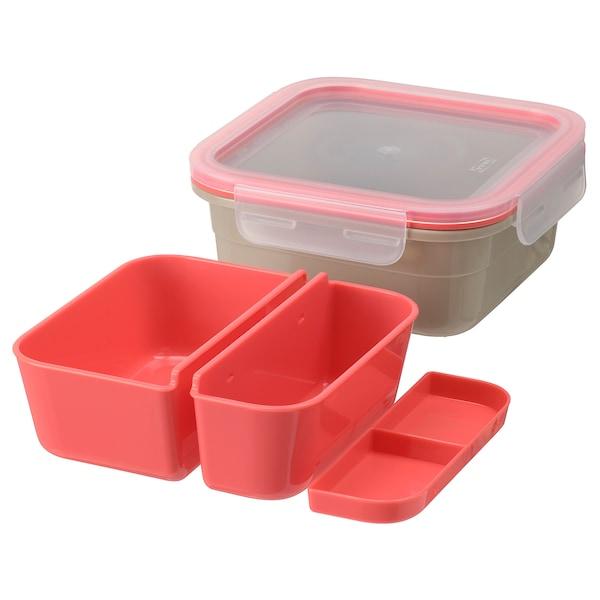 IKEA 365+ صندوق غداء بتركيبات داخلية, مربّع/بيج أحمر فاتح, 750 مل