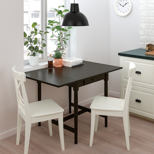 INGATORP / INGOLF Table and 2 chairs, black-brown/white, 65/123x78 cm