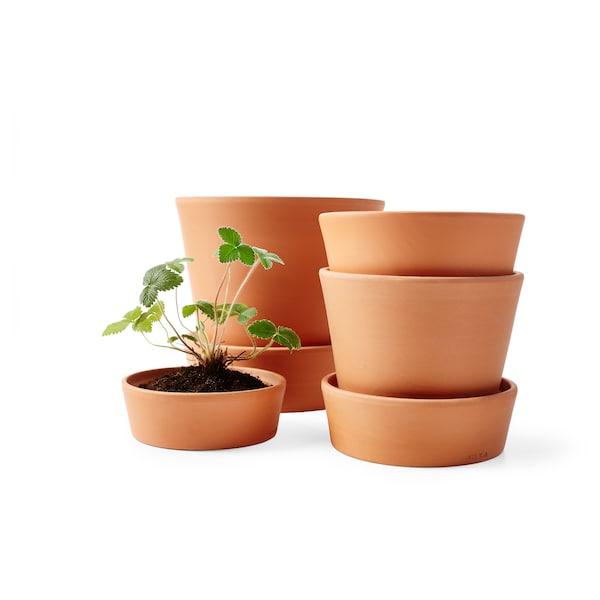 INGEFÄRA وعاء نباتات مع صحن, خارجي/بلون الطين, 12 سم