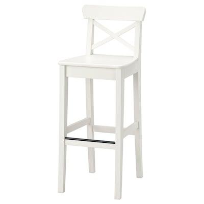 INGOLF مقعد مرتفع مع مسند ظهر, أبيض, 74 سم