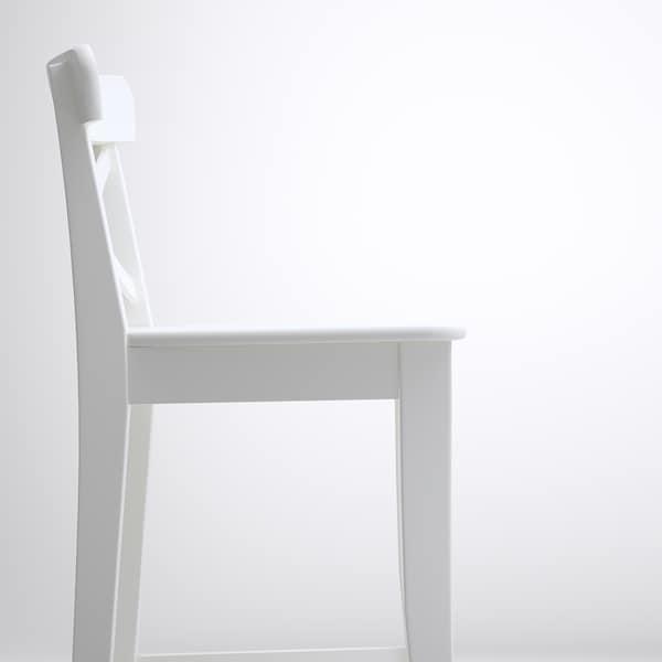 INGOLF مقعد مرتفع مع مسند ظهر, أبيض, 63 سم