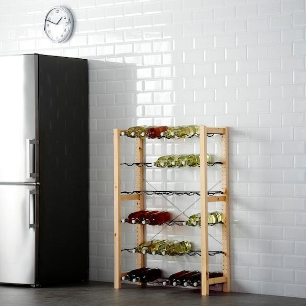 IVAR 1 section/bottle racks, pine/grey, 89x30x124 cm