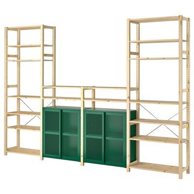 IVAR 4 sections/shelves/cabinet, pine/green mesh, 344x30x226 cm