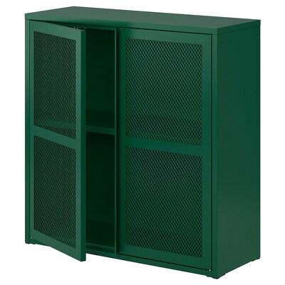 IVAR Cabinet with doors, green mesh, 80x83 cm