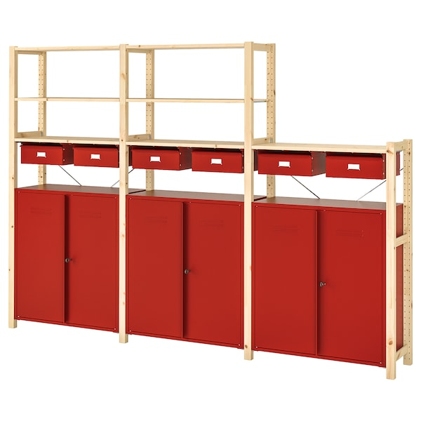 IVAR Shelving unit w cabinets/drawers, pine/red, 259x30x179 cm
