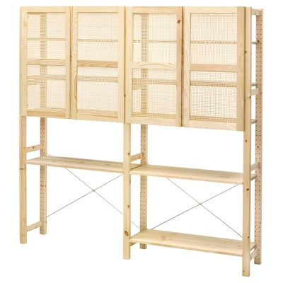 IVAR Storage combination with doors, pine, 174x30x179 cm