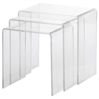 JÄPPLING طاولات متداخلة، طقم من 3., شفاف