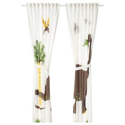 JÄTTELIK Curtains with tie-backs, 1 pair, dinosaur/brontosaurus, 120x300 cm