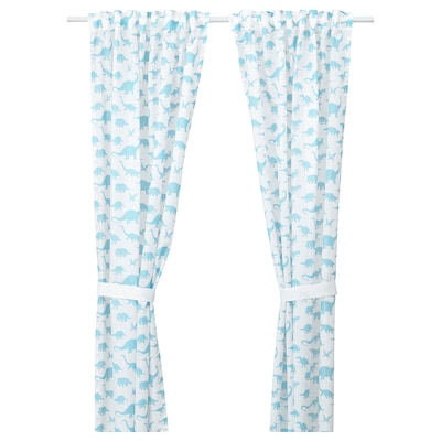 JÄTTELIK Curtains with tie-backs, 1 pair, dinosaur white/blue, 120x300 cm
