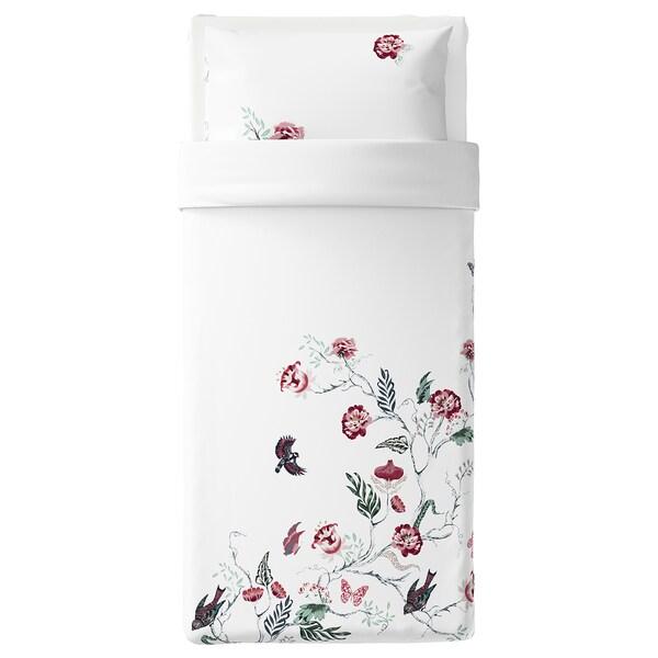 JÄTTELILJA غطاء لحاف/مخدة, أبيض/نقوش نباتية, 150x200/50x80 سم