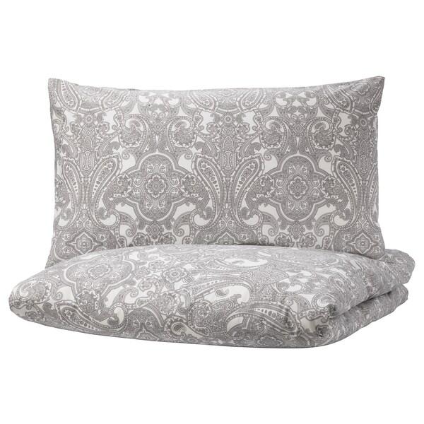 JÄTTEVALLMO غطاء لحاف/مخدة, أبيض/رمادي, 150x200/50x80 سم