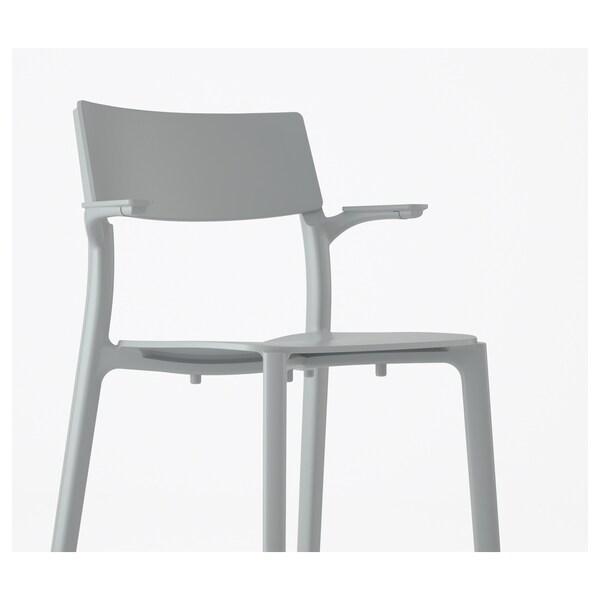 JANINGE كرسي مع مساند للذراعين, رمادي