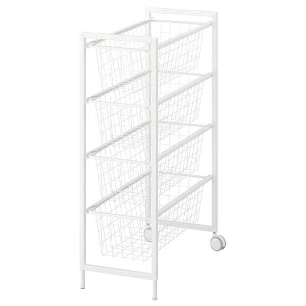 JONAXEL Frame with wire baskets/castors, white, 25x51x73 cm