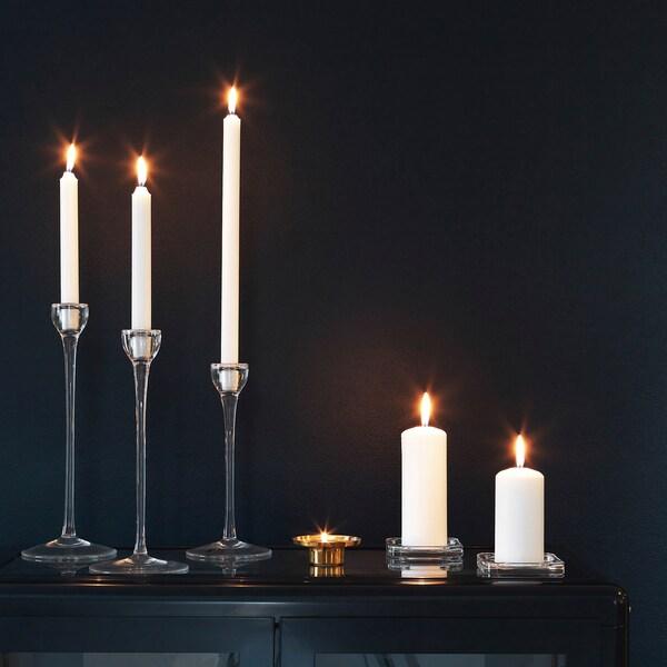 JUBLA شمعة غير معطرة, أبيض, 35 سم