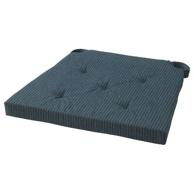 JUSTINA وسادة كرسي, أزرق غامق/مخطط, 35/42x40x4.0 سم