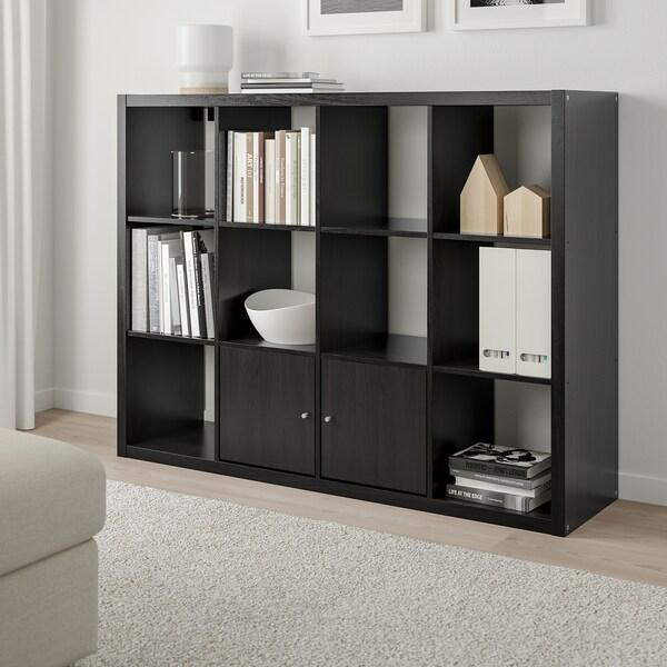 KALLAX وحدة أرفف, أسود-بني, 112x147 سم