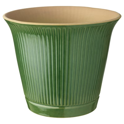 KAMOMILL Plant pot, in/outdoor green, 19 cm