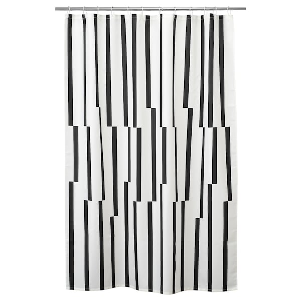KINNEN ستارة للدُش, أبيض/أسود, 180x200 سم