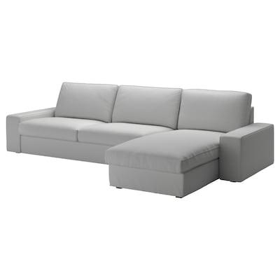 KIVIK كنبة 4 مقاعد, مع أريكة طويلة/Orrsta رمادي فاتح