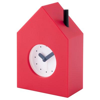 KLAMPNISSE Alarm clock, red, 11x16 cm