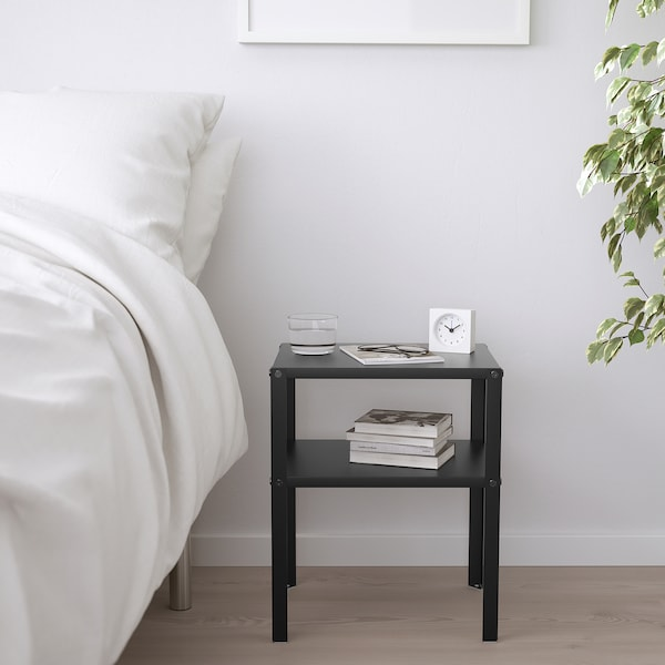 KNARREVIK طاولة سرير جانبية, أسود, 37x28 سم