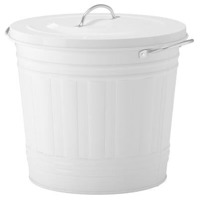 KNODD Bin with lid, white, 16 l