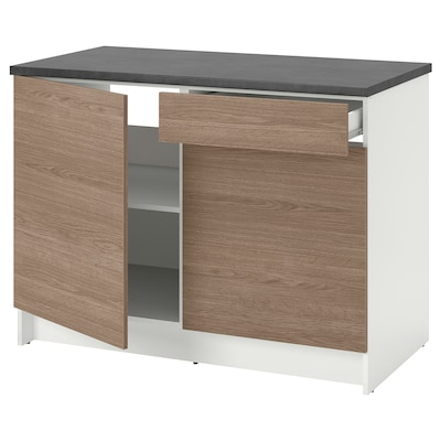 KNOXHULT خزانة قاعدة بأبواب ودرج, مظهر الخشب/رمادي, 120 سم