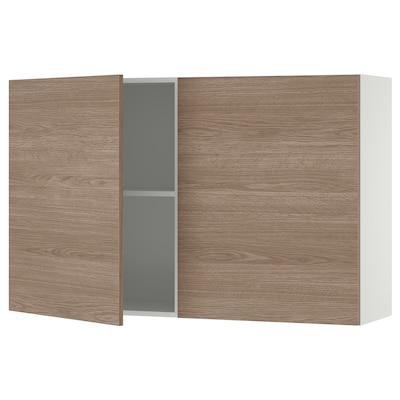 KNOXHULT خزانة حائط مع أبواب, مظهر الخشب/رمادي, 120x75 سم