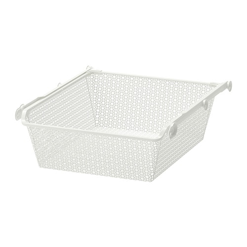 KOMPLEMENT Metal basket with pull-out rail, white