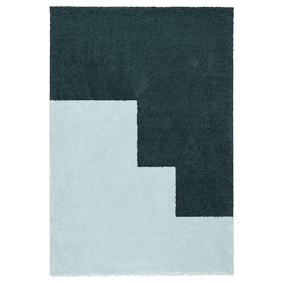 KONGSTRUP سجاد، وبر طويل, أزرق فاتح/أخضر, 133x195 سم