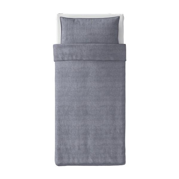 KOPPARBLAD غطاء لحاف و غطاء مخدة, أزرق غامق, 150x200/50x80 سم