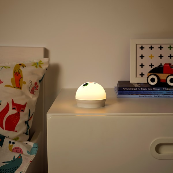 KORNSNÖ LED night light, white/rabbit battery-operated