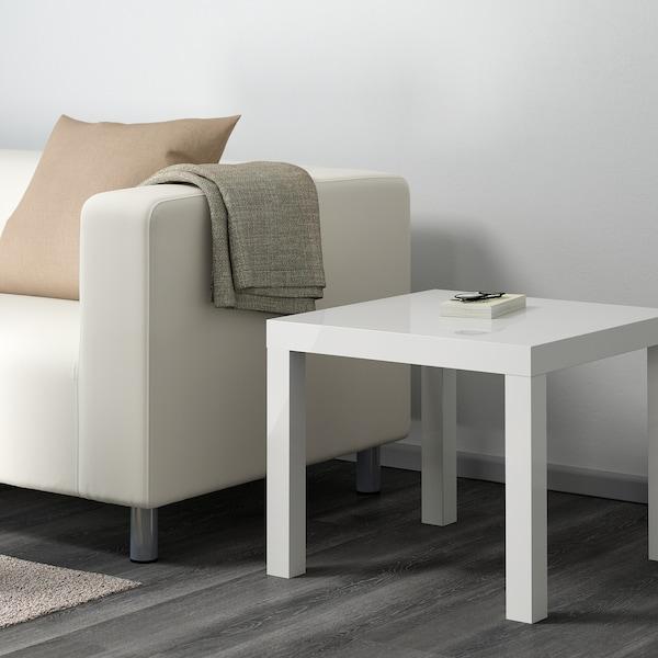 LACK طاولة جانبية, لامع أبيض, 55x55 سم