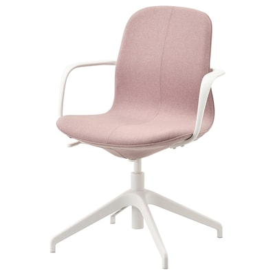 LÅNGFJÄLL Conference chair with armrests, Gunnared light brown-pink/white