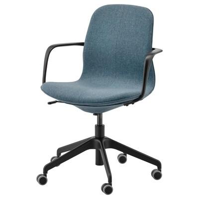 LÅNGFJÄLL كرسي مكتب بمساند ذراعين, Gunnared أزرق/أسود