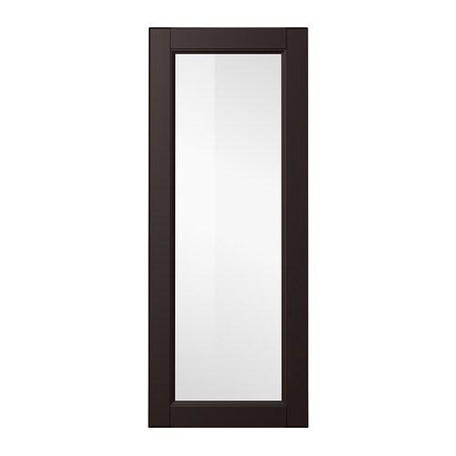 LAXARBY Glass door, black-brown