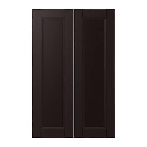 LAXARBY 2-p door f corner base cabinet set, black-brown